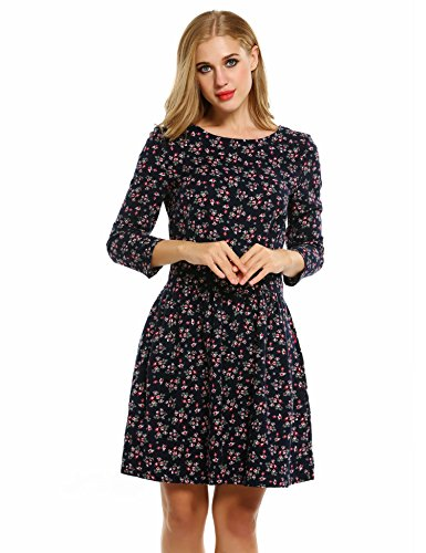 Meaneor Damen Kleider Blumenmuster Retro Vintage Langarm Knielang Ballkleid Party Cocktail Club Winter Herbst Frühling Blau