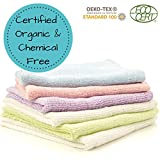 Organic Bamboo Baby Washcloth Flannels - Best For Sensitive Skin, Eczema, While