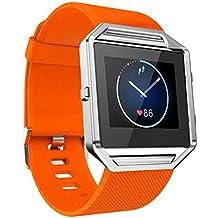 Fitbit Blaze reloj inteligente, rawdah suave deporte silicona reloj banda correa de muñeca, color naranja