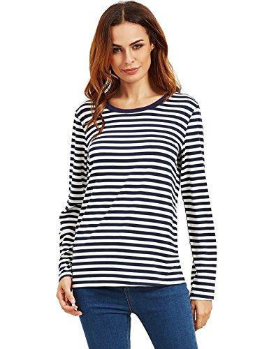 ROMWE Damen Ringel Langarmshirt Baumwoll Streifen Gestreift Hundhals Shirt Top Marineblau S
