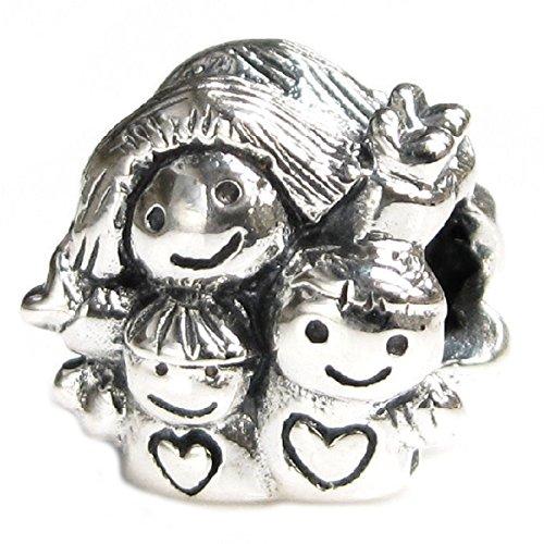 Queenberry bead charm style argento madre figlia femmina figlio maschio famiglia europea