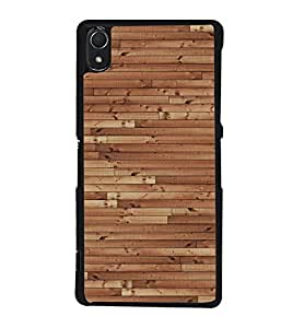 Fuson Classic Wooden Design Designer Back Case Cover for Sony Xperia Z2 (5.2 Inches) (Ethnic Pattern Patterns Floral Decorative Abstact Love Lovely Beauty)