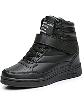 UBFEN Damen Schuhe Sneakers Wedges Keilabsatz 7cm Sportschuhe Stiefel Knöchel Klettverschluss High Top Casual...