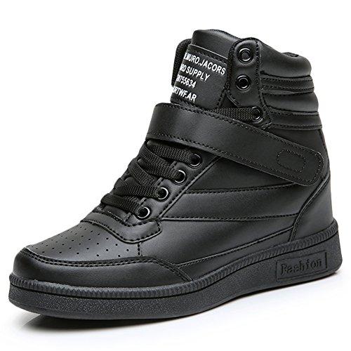 Ubfen stivali zeppa donna sneakers interna alte scarpe da ginnastica polacchine stivaletti strappo stealth tacco 7 cm nero bianco rosa eu 36 nero