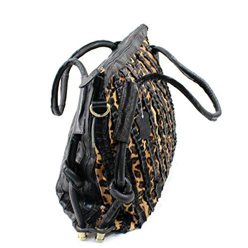 Keshi Damen Handtaschen, Hobo-Bags, Schultertaschen, Beutel, Beuteltaschen, Trend-Bags, Velours, Veloursleder, Wildleder, Tasche Kuhleder Schwarz