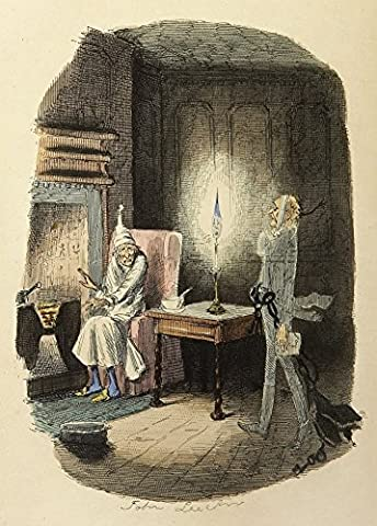 A Vintage Christmas JACOB MARLEY'S GHOST from CHARLES DICKENS' A CHRISTMAS CAROL c1843 John Leech Illustration 250gsm Gloss Art Card A3 Reproduction Poster by World of Art