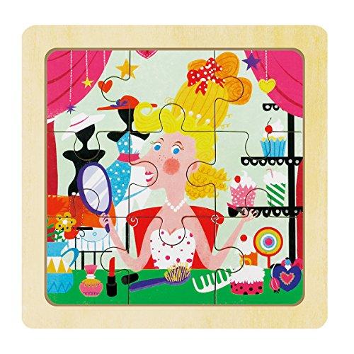 Robotime 9 piezas de rompecabezas de madera rompecabezas-Princess Dress-up-juguetes educativos para niños y niñas 2-4 años
