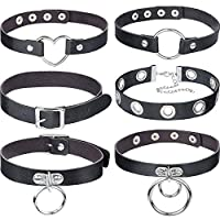 Hicarer 6 Pieces Leather Choker Punk Choker Adjustable PU Leather Collar Set (Classic Style)
