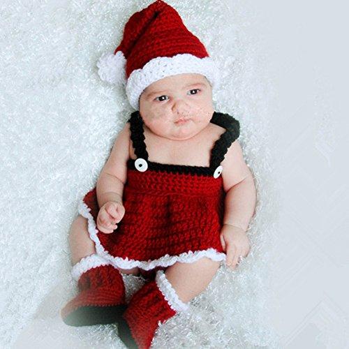 HAPPY ELEMENTS Neugeborenes Baby Fotografie Stütze Netter Weihnachtskostüm Hut Strickte Häkelarbeit Ausstattungs Set (Kostüm Ziel Weihnachtsmann)
