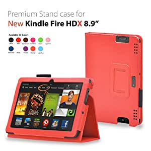iZKA® - Amazon Kindle HDX 8.9 inch Tablet Leather Case Cover and Flip Stand Typing Wallet + ProPen Stylus Pen (2013 Model Fits All Versions - 16GB, 32GB & 64GB Wi-Fi + 4G LTE) - (Orange)