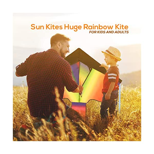 Huge Rainbow Kite for Children and Adults - Very Easy to Fly Kite - Stable In Low Winds - Great Outdoor Toy for…