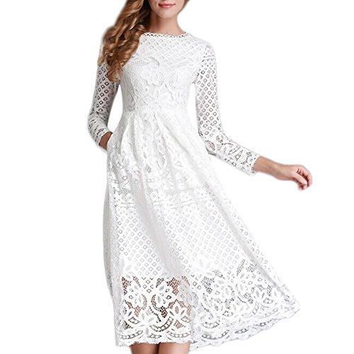 Minetom Vestido Largo Elegante de Encaje Encaje Cuello Redondo Manga Larga Coctel Fiesta Vestido para Mujer Blanco ES