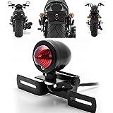 katur 1Stück rot 12V Motorrad Rücklicht Bremse Stop Running Light mit-Schwarz für Harley Bobber Chopper Cruiser Dyna Glide Sportster