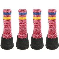 Baoblaze Calcetines de Perro Gato Impresión Zapatos para Mascotas Antideslizante Zócalo Desgaste Calienteto - Rojo, XS