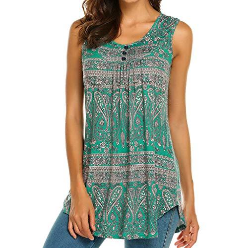 iHENGH Damen Top Bluse Bequem Lässig Mode T-Shirt Sommer Blusen Frauen Ärmelloses Damen Rundhals Blusen Shirt Lässige Flare Tunika Tanktop(Blau, 2XL)