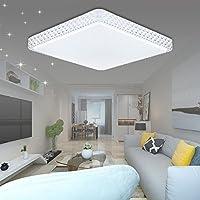 VGO® 60W Kristall Deckenlampe Starlight Effekt Mordern LED Wohnzimmer  Deckenbeleuchtung Kaltweiß Quadrat Panel Lampe