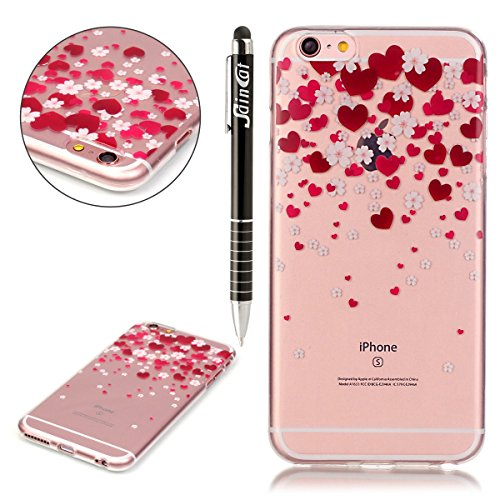 SsinCat Custodia per Apple iPhone 6 Cover,Ultra Slim trasparente TPU Crystal Clear Morbido Copertura Case Cover per iphone 6s,Disegni Lusso Vans Belle Creative Marvel Fantasia Campanula Puro Trasparente Rigida Semplice,Anti-Scratch TPU Gel Silicone Protettivo Skin Protettiva Shell Case Cover,Antigraffio con Fiore Della Prugna Cover posteriore per Apple iphone 6/6s 4.7 pollici + A Stilo Penna(rosso amore)