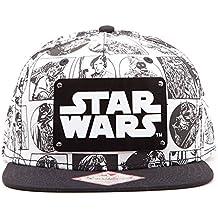 Star Wars Comic Style con Logo de Metal Snapback Cap Negro-Blanco c8b45f7d8a2