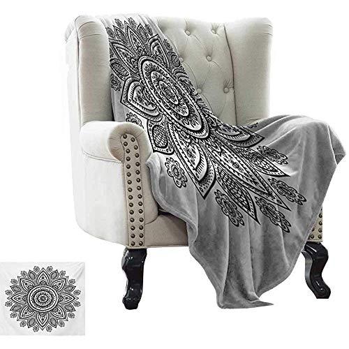 mallcentral-EU Henna wirft Sonnenblumenmuster in Doodle-Stil mit geometrischen Elementen Kreise und Linien drucken warme gemütliche Decke schwarz weiß
