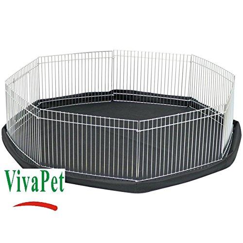 Enclos de protection VivaPet pour lapins, canards, cochons d'Inde - Avec filet pare-soleil, 8panneaux, noir et argenté, 140cm environ