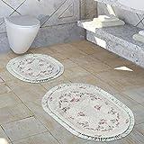 Paco Home Badezimmer Teppich Set Shabby Chic Look Waschbar Gemütlich Badvorleger Altrosa, Grösse:1mal 60x100 1mal 50x60