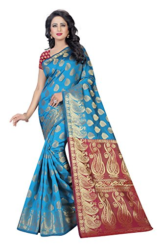 Shivalika Tex Silk Saree With Blouse Piece (Af_Jq_504_Blue And Skyblue_Free Size)