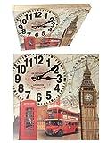 Wanduhr 40 x 40 cm Holz Küchenuhr Modern London Design 2 Nostalgie XXL