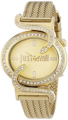 Just Cavalli Sin Women's Quartz Watch with Gold Dial Analogue Display and Purple Stainless Steel Strap R7253591501