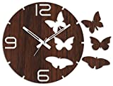 #6: Studio Shubham decorative butterfly Brown Wooden Wall Clock with 3 butterfly wooden stickers(26.5cmx26.5cmx3cm)