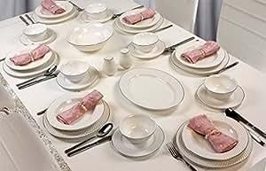 premium 56 teilig tafelservice porzellan set service f r 12 personen geschirr in wei. Black Bedroom Furniture Sets. Home Design Ideas