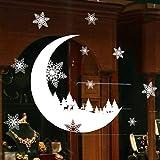 Weihnachten Fensterbilder Weihnachtssticker,Rovinci Mond Schneeflocken Fensterdeko Fensteraufkleber Fenstersticker Weihnachtsdeko Wandaufkleber Wandtattoo Wandsticker Aufkleber PVC Wanddeko Party