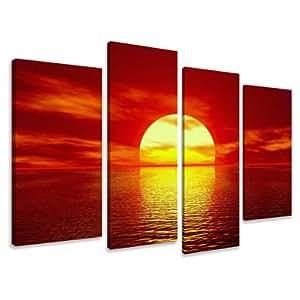 Visario 6094 Ensemble de 4 tableaux en lin Motif coucher de soleil 130 x 80 cm