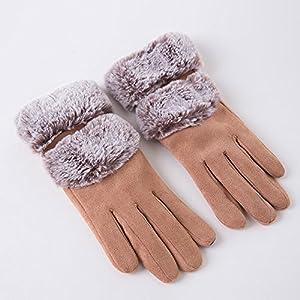 Unbekannt XIAOYAN Handschuhe Damen Handgelenk Länge Fingerspitzen, Casual Patchwork Winter grau/Kamel/Pink/Schwarz Bequem