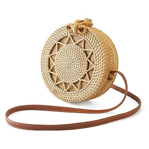Gewebte Clutch-handtasche (SUNKY Handgewebte runde Rattan-Tasche, Handarbeit, Clutch gewebt, Handtasche für Frauen)