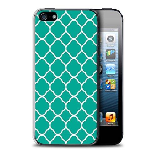 Stuff4 Hülle / Case für Apple iPhone SE / Zusammenfassung Glas Muster / Teal Mode Kollektion Quatrefoil/Klee