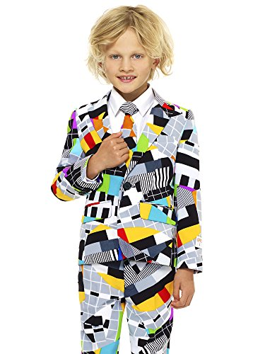 OppoSuits Crazy Suits for Boys in Different Prints - Comes With Jacket, Pants and Tie In Funny Designs, Testival, Gr. 122/128