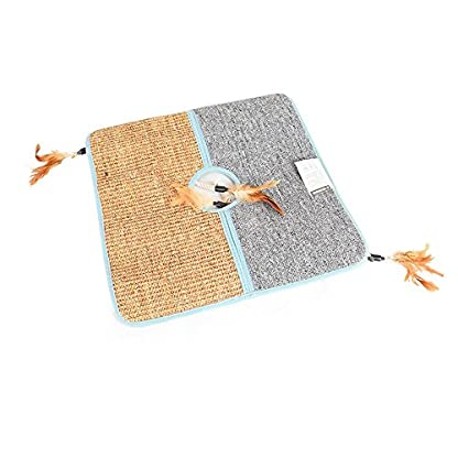 Aolvo Cat Scratcher, Double Sided Natural Tanzania Sisal Cat Scratching Mat Pad Cardboard, Soft and Unbroken, Interactive Cat Scratch Mat Scratcher Replacement with 2 Cat Feather Teaser Toy 2