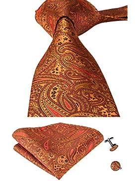 hi-tie Paisley corbata pañuelo gemelos Jacquard tejido de seda corbata