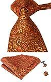 hi-tie Paisley corbata pañuelo gemelos Jacquard tejido de seda corbata Naranja naranja
