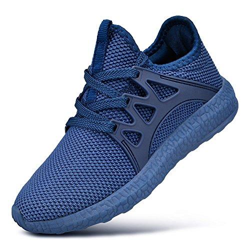 FiBiSonic Herren Damen Laufschuhe Sneaker Wanderschuhe Outdoor Sportschuhe Leichtgewichts Freizeit Turnschuhe Atmungsaktive Fitness Schuhe Blau 46