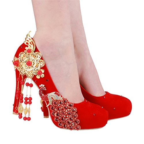 Chaussures de Mariage Eau suède Chinois avec des Chaussures à Talons Fins (avec Haute: 10cm)