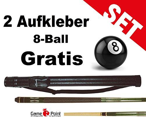 Top-Angebot!!! Billardqueue Tycoon, TC-4 grün, Länge ca. 147 cm, 2-tlg. mit Köcher Karella 1/1 schwarz + 2 Aufkleber 8-Ball Gratis