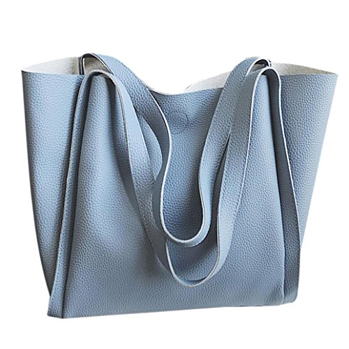 Longra Donna Due sacchetti un sacchetto di spalla di colore solido del cuoio dellunità di elaborazione Blu