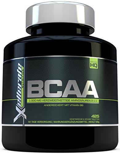 BCAA Tablette 1000 mg – 425 Tabletten – 3000 mg Tagesbedarf – 141 Tage Vorrat – 2:1:1 Mehrkettiges Aminosäuren-Nahrungsergänzungsmittel + B6 – Zutaten Beinhalten L-Leucin, L-Isoleucin, L-Valin