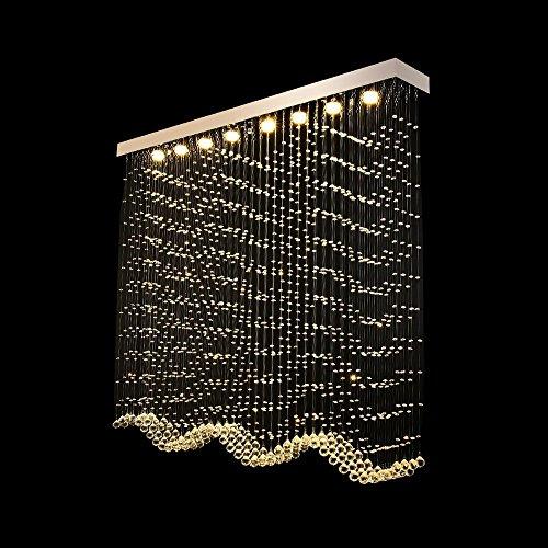 Rechteck-lampe Perlen (HOMEE Decke Kronleuchter-Led Rechteck Kristall Licht Lampe Perlen Vorhang Kristall Kronleuchter Wohnzimmer Lichter,Lange 120 * Breite 20 cm * Hohe 1,3 Meter)