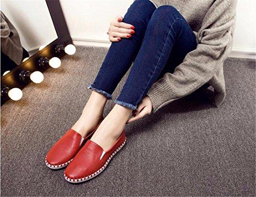 Qiyun.z Casual Femmes Doux Talon Vache Coréenne Mocassins Chaussures Printemps Plats Simple Rouge Chaussures