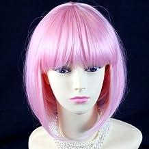 Peluca para disfraz de piel corta resistente al calor, color rosa
