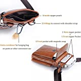 Hengying Leder Mini Kleine Umhängetasche Gürteltasche Handy Tasche mit Viele Fächer Passt für Galaxy S8 Plus iPhone 6S Plus 7 Plus (Braun) - 4