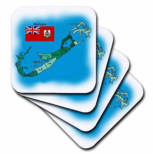 777images Flaggen und Karten–Karibik–Flagge und Karte der Britischen Overseas Insel Territorium Bermuda und alle Gemeinden farbigen und Etikettiert–Untersetzer, Gummi, set-of-8-Soft