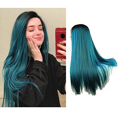 e Wurzel blau und grün gemischte Farbe Ombre Two Tone Cosplay Party Perücke schwere volle gerade Spitze vorne hitzebeständige synthetische Haar Perücke für Frauen 24Zoll (Two Tone Perücken)